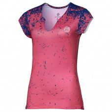 Bidi Badu Bella Tech V-Neck Tee - coral/darkblue/white